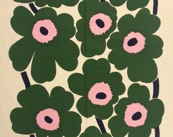 Marimekko fabric by the yard | Designer fabric | Marimekko Unikko green | Home Decor fabric | green fabric | retro fabric