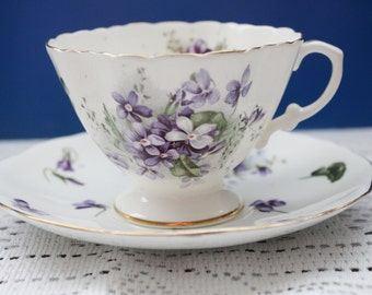 Antique Hammersley and Co 1939+ Victorian Violets Cup and Saucer Footed Cup Gorgeous Purple Violets
