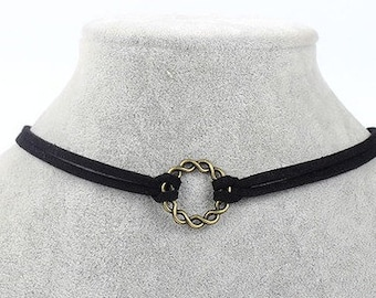 Double Strand Suede Spiral Ring Choker