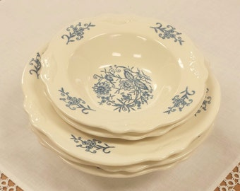 5 Rim Bowls ~ Dresden Imperial Blue ~ Homer Laughlin Heritage Quality Dinnerware ~ Berry/Fruit/Dessert/Sauce/Cereal Bowls Replacement China