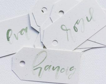 Calligraphy Name Tags, Name Tags, Custom Name Tags, Watercolor Name Tags