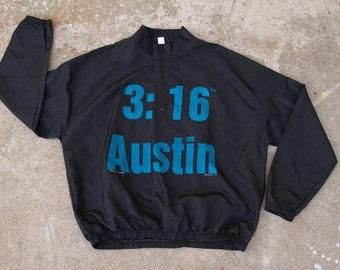 "Very Rare 1/4 Zip Stone Cold Steve Austin ""Austin 3:16"" Windbreaker"