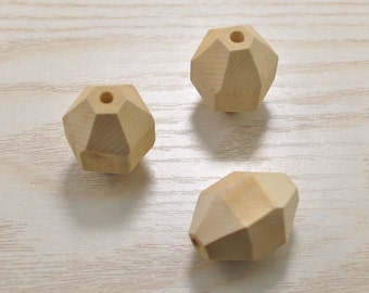 20pcs Oval Facted Wood Bead No Varnish, Natural Polyhedron Faceted Wooden Beads 28x20mm,Unfinished Faceted Wood Beads,Wood Craft
