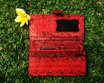 Women's Snakeskin Wallet, 100% Hand-Made, Red Python Wallet, Exotic leather, Women's Purse, Natural Leather Purse