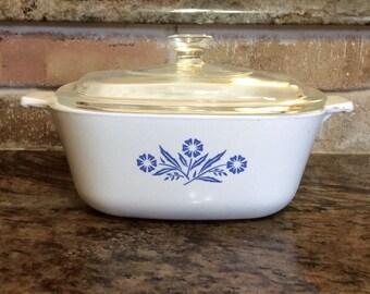 Vintage Corning Ware  Covered Casserole Dish, Blue Cornflower  P-1 1/2-B, 1 1/2 Quart with Pyrex lid,  P-7-C