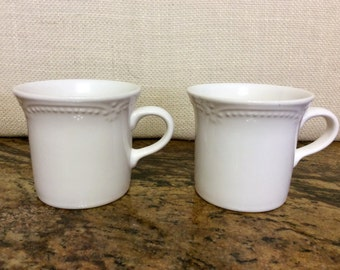 Vintage Pfaltzgraff Filigree Pattern White Stoneware Coffee Mugs, Set of 2
