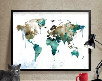World Map Large Watercolor world map | Watercolor wall art | Geography cartography wall art | watercolor world map (347)