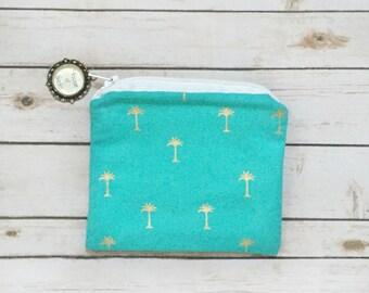 Palm Tree Coin Purse / Zipper Pouch