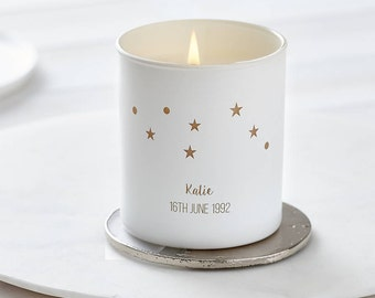 Glow Through Personalised Constellation Candle, Candle, Personalised candle, Birthday Candle, Scented candle, Zodiac, Star signs, Birthday