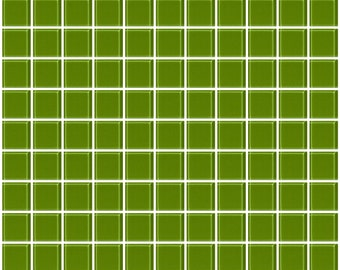 1-inch dark lime green glass tile (J1214)