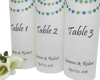 Wedding Reception Decorations -Wedding Table Number -Wedding Luminaries -Wedding Decoration -Wedding Reception -Table Number Luminaries