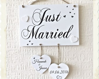 Wedding Gift Just Married Wooden Plaque Sign Schabby Chic W61b