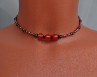 Red beaded thin choker necklace