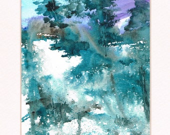 Original Watercolor Abstract Landscape