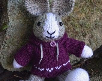 Hand Knit Dutch Bunny, Plush Toy, Stuffed Animal