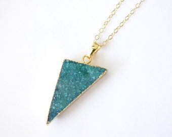 Green Triangle Druzy Agate Necklace,Gold Boho Jewelry, Rough Natural Agate Pendant,Geometric Necklace,Druzy Edge Pendant, Gold Dipped Druzy