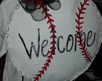 Baseball burlap door hanger