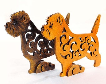 Statuette Cairn Terrier figurine made of wood, hand-painted with acrylic and metallic paint