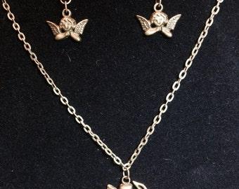 Antique Bronze Angel necklace, Antique Bronze angel earrings