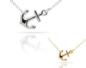 Anchor necklace,anchor pendant necklace,sideway anchor pendant necklace,925 Sterling Silver Anchor Pendant Necklace