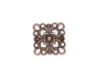 Copper Link, DOMED Square Link, Antiqued Filigree, 14x14mm, 10 each, D752