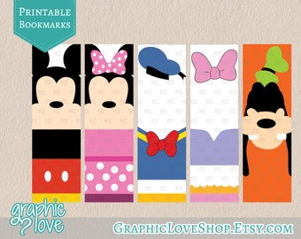 Mickey & Friends Inspired Printable Bookmarks, Set of 5 designs | JPG File, Instant download