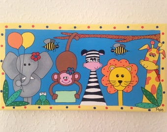 Safari Friends nursery painting