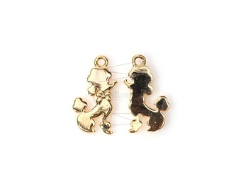 PDT-789-G/2PCS/Profile Poodle Pendant/10mm x 16mm/Gold Plated Over Brass