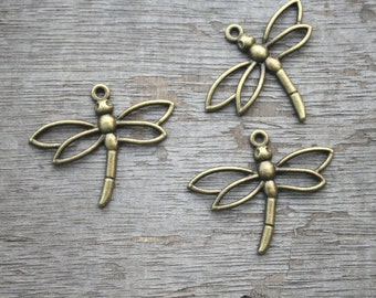 15pcs Dragonfly Charms--antique bronze Dragonfly Pendant,antique bronze jewelry findings 26x33mm D0751
