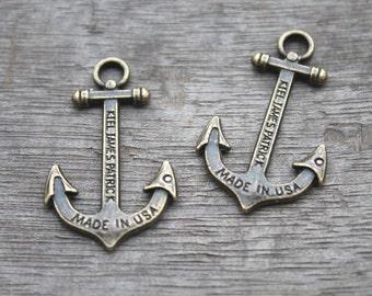 12pcs--Anchor charms, Antique bronze Anchor Charm Pendants 34x21mm D0264