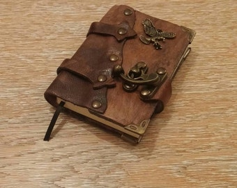Leather Journal, Notebook or Diary with Eagle - OOAK