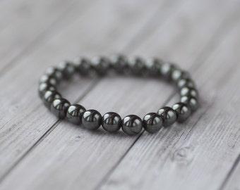 Black Hematite bracelet, natural black stone bracelet