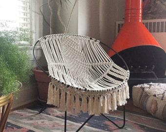 Custom Mid Century Modern macrame hoop chair for Heather