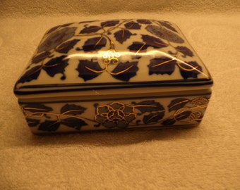 Rectanglular Blue and White, Gold trimmed Trinket Box