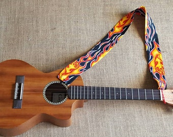 Ukulele strap in multicolor orange red and blue flames with neck lei