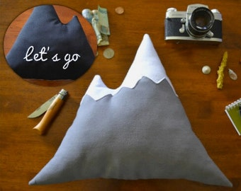 Mountain pillow cushion - ''Let's go'' hand embroidered on the back - by Cabin Studio