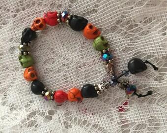 Halloween Multi Color Stone Skull Bead Stretch Bracelet