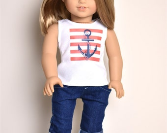 Graphic top 18 inch doll clothes American made doll clothes