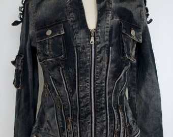 Upcycled Dieselpunk Denim Zipper Detail Jacket With Pocket And Metal Popper Decoration Size UK 10-12 US 6-8