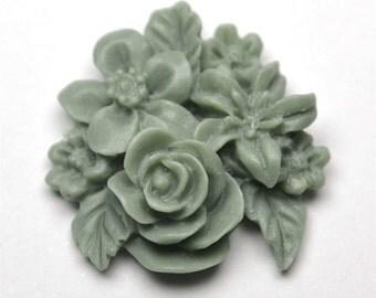 Dark Green Cluster Flower, Pack of 4
