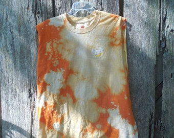 Vintage inspired Boxy Moonpie bleached destroyed t shirt muscle shirt sleeveless Tennessee Orange tie dyed hipster street wear one of a kind
