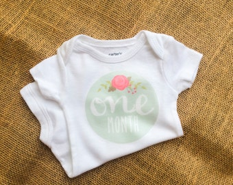 One Month Mark Vintage Inspired Onesie - Baby Girl