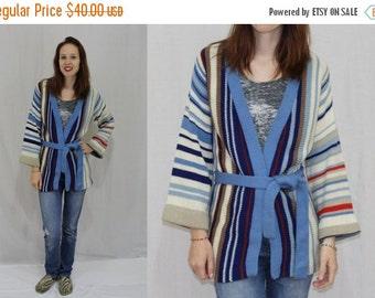 On Sale Vintage 70s Ethnic Stripe Wrap Cardigan Bell Sleeve Hippie Boho Sweater Jacket S