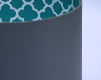 Drum Lampshade with Teal Riley Blake Quatrefoil Geometric Fabric lining with a choice of fabric outer colour