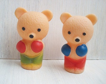 Vintage rubber toy  Bears - boxers Soviet vintage Toys for bath Made in USSR Set of 2