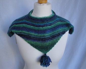 womans mini-cape, tasselled cowl, knitted neckwarmer, CLEARANCE, green and blue cowl, shoulder cape, blue green capelet, Italian yarn cowl