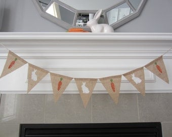 Bunnies and carrots burlap banner- Easter banner - Spring banner
