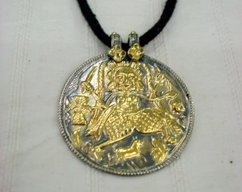 silver necklace pendant gold vermeil pendant hindu god goddess amulet