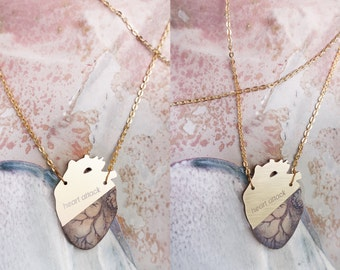 Anatomical Heart Necklace. Laser cut wood pendant.