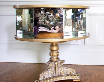 French Mirrored Table, Mirrored Coffee Table, Vintage French Table, Swivel Table, Handpainted Table, Mirrored Furniture, French Coffee table